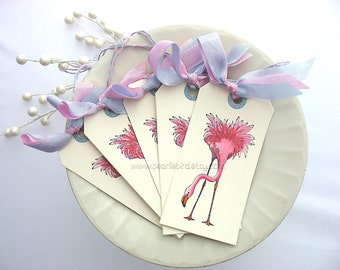 Pink Flamingo Glitter Gift Tags by Pearliebird on Etsy~gender neutral flamingo baby shower tags~pink and baby blue
