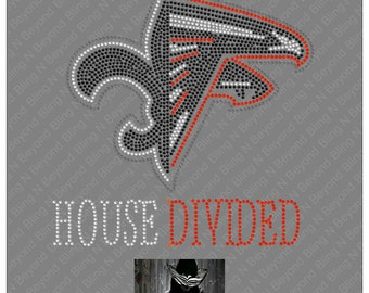 Custom House Divided Shirts.. You give us the logos and we make the bling - Saints - Falcons