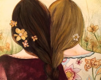 Art print sisters best friends  gift idea  with blonde and brown hair intertwined braids