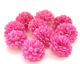 Violet Pink Pom Pom Carnations - 25 count - Artificial Flowers, Silk Flowers