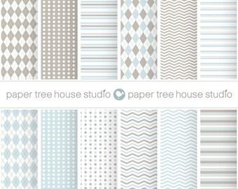 Blue Digital Paper. Tan Digital Paper. Argyle Paper. Boy Digital Paper. Polka Dot Digital Paper. Striped Scrapbook Paper. Chevron PNG