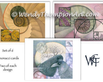 Fibonacci art note cards -Set of 6, Two of each original design, raven corvid fantasy, luna moon celtic, spirals water drops leaves feathers