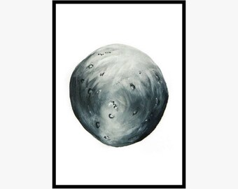 Moon painting | Original acrylic painting | Acrylics on paper | Home decor | Wall art | Black and white | Original art | Gift idea