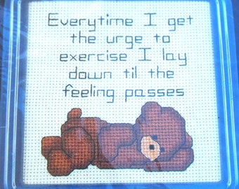 Cross Stitch Kit Little Bear Urge To Exercise By Dale Burdett  Country Stitch Kit