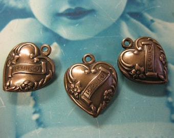 Copper Ox Plated Brass Heart Charms 423COP x2