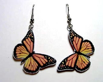Handmade Plastic Monarch Orange Black Butterfly Earrings Jewelry Accessories Fashion Novelty Unique Gift Gifts for Her