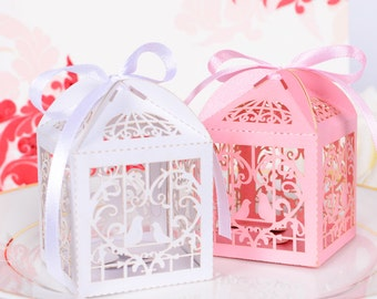 Love Birds Pink or White Wedding Favor Gift Box Lolly Bag Bomboniere with Ribbons Bridal Shower Party Favors