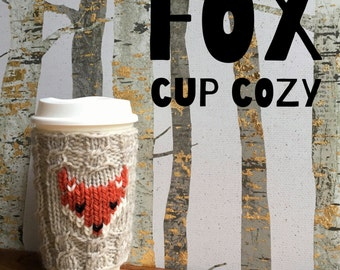 PDF knitting pattern for FOX cup cozy