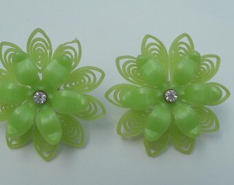Green Flower Earrings with Rhinestone Centers - Vintage Lime Color Plastic Screw Back Earrings