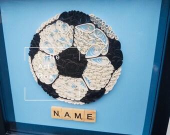 Handmade paper quilled football frame
