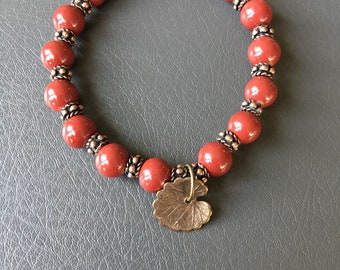 Red and copper stretch bracelet