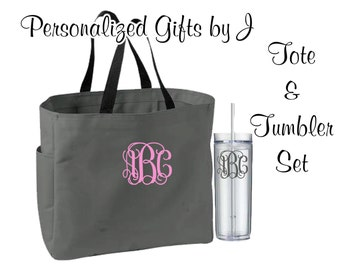 1 Personalized Bridesmaid Gift Tote Bags and Tumblers Set, Personalized Tote, Bridesmaids Gift, Monogrammed Tote, Getting Ready Bag