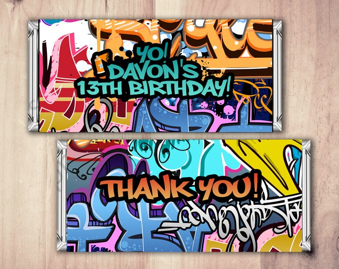 Fresh Prince, Birthday, Baby Shower, Hip Hop, candy wrapper, 90's, graffiti,birthday, DJ, 90's party, Hip Hop printable