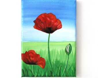 Original Painting.  Red Poppy