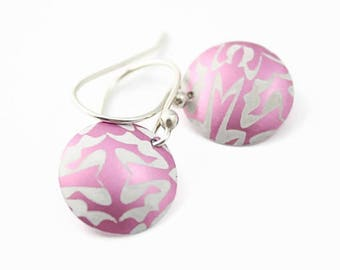 Anodized Aluminum Disc Earrings, Pink Abstract Pattern, Argentium Silver Earwires, Handmade