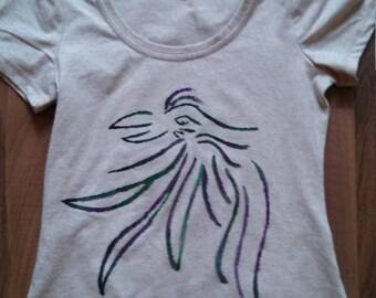 Handpainted mystical raven lady's shirt