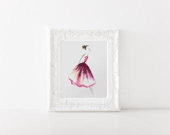 Fahion illustration, Ballerina Print, Ballet art, Ballerina drawing, Fashion sketch, Fashion print, Fashion art, Ballerina sketch