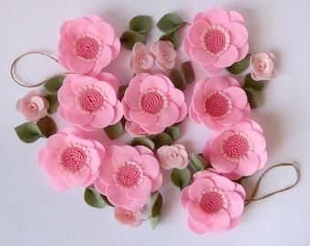 Pink anemone Wedding felt flower garland Blush pink wall hanging Nursery decor Felted flowers Felt bunting Gift for girl Felt rose banner