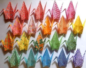 100 Large Origami Cranes Origami Paper Cranes - Made of 15cm 6 inches Japanese Washi Chiyogami Paper