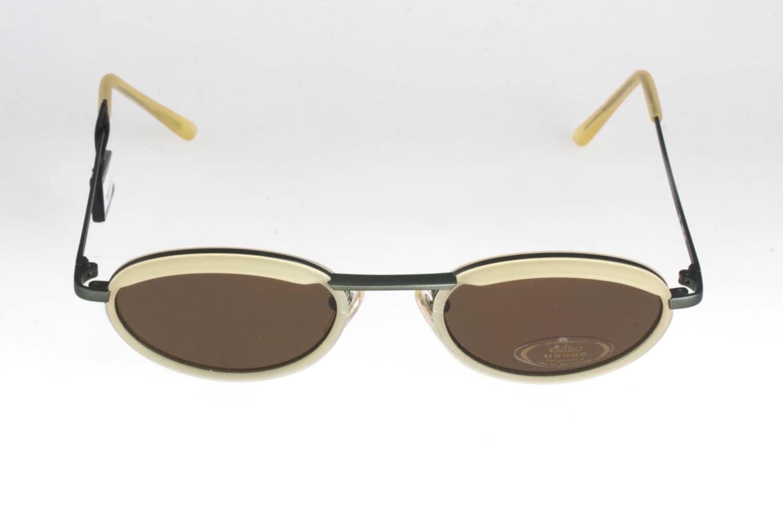 Kaleido Oval Vintage Sonnenbrille olivgrün Metallstruktur und