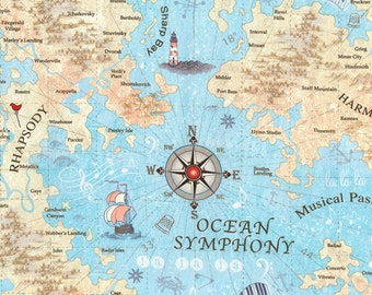 Row by ROW Experience - Timeless Treasures - Per Yard - 2018 Row by Row - Sew Musical designed by Debra Gabel - Ocean Symphony Map