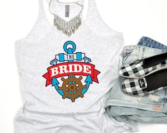 Nautical Bride Women's Racerback Tank | nautical wedding, nautical bride, nautical, wedding, bachelorette tank, bachelorette tanks