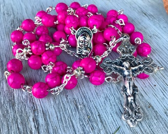 Rosary, handmade in bright pink turquoise beads with ornate crucifix and mother and child center station