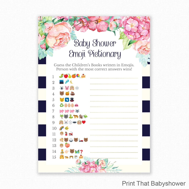 Baby Shower Game Blue Baby Shower Emoji Pictionary