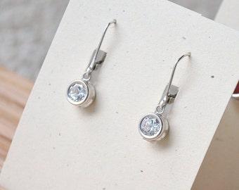Cubic Zirconia Earrings - April Birthstone