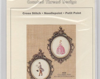 Helen Burgess Counted Thread Design. Colonial Pair Pattern. HB4028.