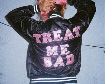 Treat Me Bad sparkly Pink Bomber Jacket