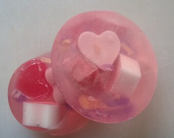 Glycerin & Goats Milk Heart Embeds in Crystal Clear Base, Mother's Day Special Gift