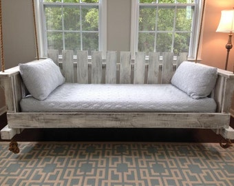 """Porch Swing: The """"Rivertowne"""" Swing Bed w/ Straight Back -- FREE SHIPPING! (Bedswing)"""