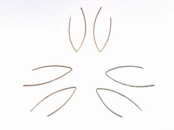 Marquise Dainty Ear Wire // 14k Gold Fill, 14k Rose Gold Fill, or Sterling Silver