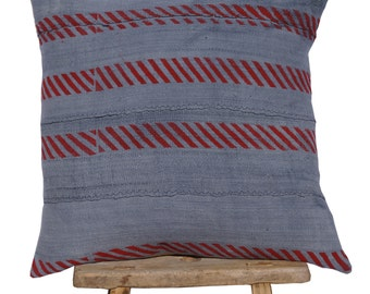 """Authentic African Mudcloth Grey and Red Patterned Pillow Cover 18""""x18"""""""