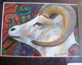 original art color pencil drawing 8x10 big horn sheep zentangle design abstract