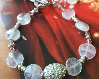 Rose Quartz with Swarovski Crystal Bracelet