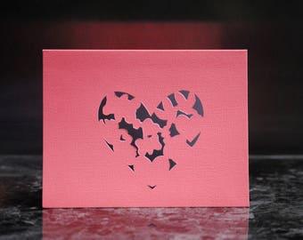 Valentine's cut paper greeting card