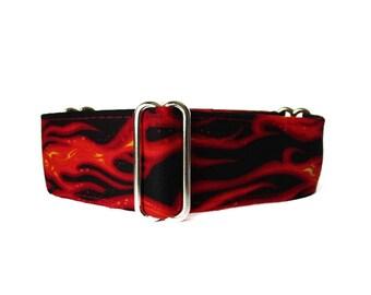 1.5 Inch Martingale Collar, Flames Martingale Collar, Flames Dog Collar, Wide Dog Collar, Red and Black, Custom Dog Collar