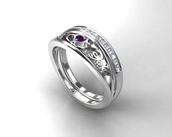 Amethyst engagement ring set, filigree engagement ring, white gold, diamond wedding ring, purple, diamond eternity band, filigree wedding