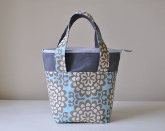 Insulated Lunch Bag - Blue and Gray Floral Thermal Bag - Zippered Bag