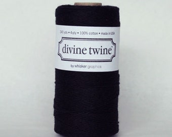 10 yards/ 9.144 m Solid Black Bakers Twine, Divine Twine