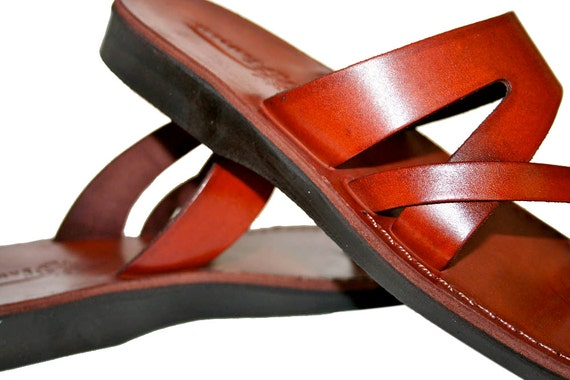 Leather Sandals Zing amp; Genuine Sandals Sandals Unisex Sandals Leather Handmade Men For Brown Flop Jesus Flip Sandals Women qaSxARFRw