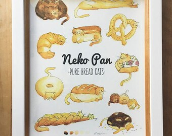 Neko Pan Pure Bread Cats 8x10 Art Print