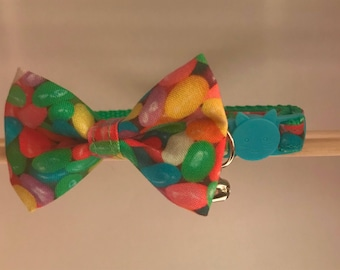 "Spring / Easter Cat Collar with Bow Tie - ""JellyBeans"" - Breakaway Cat Collar / Kitten Collar"