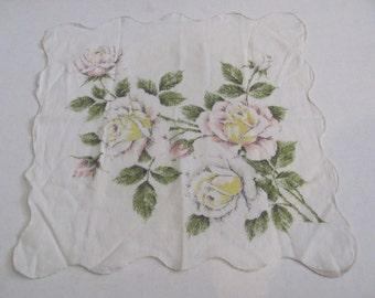 Hankie - Beautiful White Floral Cotton Vintage Hankie Handkerchief