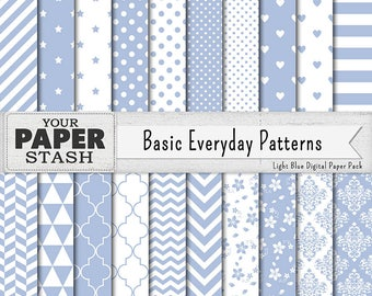 Light Blue Digital Scrapbook Paper Pack, Blue Backgrounds, Boy Digital Papers Chevrons Polka Dot Stars Striped, Commercial Use, Download