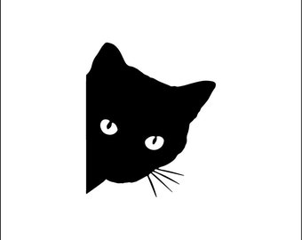 Peeking cat decal, cute cat car decal, cat vinyl decal, girly car sticker, yeti tumbler, feline, kitty, crazy cat lady, animal lover, rescue