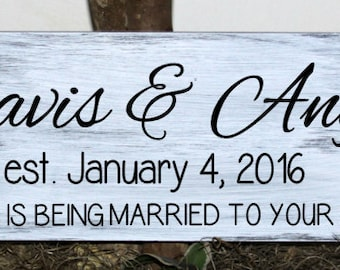 Personalized happiness is being married to your best friend with names and est. date wood sign