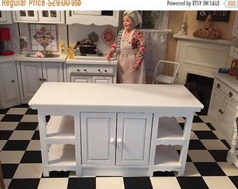 SALE Miniature Center Island, Wood Table, #28, Side Shelves, 2 Door Island Table, Dollhouse Miniature Furniture, 1:12 Scale